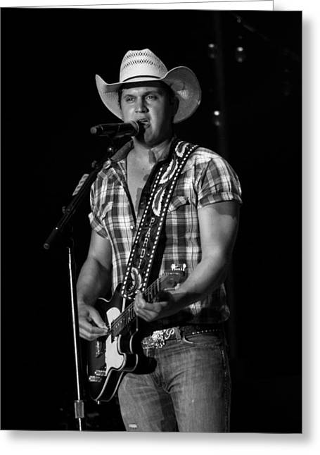 Live Music Greeting Cards - Jon Pardi Guitar Greeting Card by Mike Burgquist