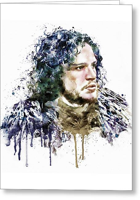 Crow Mixed Media Greeting Cards - Jon Snow watercolor Greeting Card by Marian Voicu