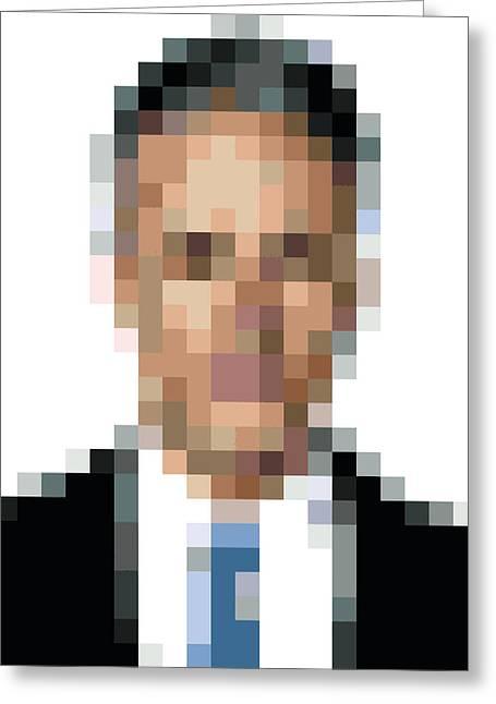 Jon Stewart Pixelface Greeting Card by Pixel Face