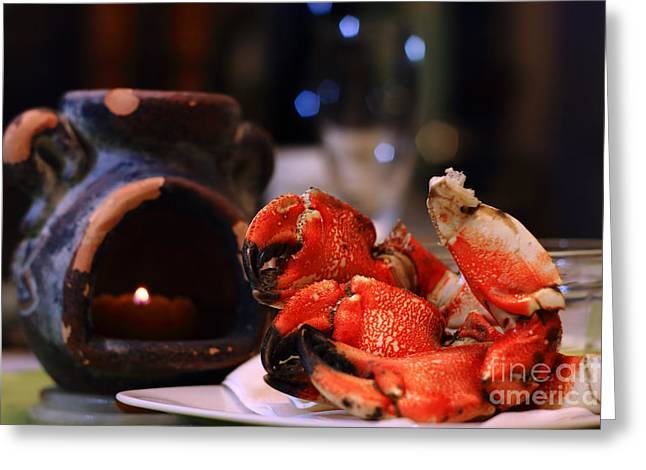 Jonah Photographs Greeting Cards - Jonah Crab on Plate Greeting Card by Charline Xia