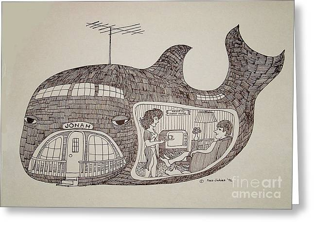 Jonah Greeting Cards - Jonah in his whale home. Greeting Card by Fred Jinkins