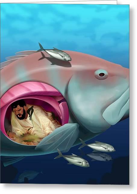 Fish Framed Prints Mixed Media Greeting Cards - Jonah Greeting Card by Nigel Morgan