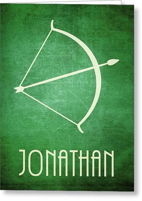 Bible Character Greeting Cards - Jonathan Icon Bible Minimal Art Greeting Card by Brett Pfister