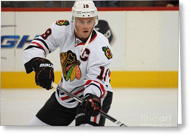 Jonathan Toews - Action Shot Greeting Card by Melissa Goodrich