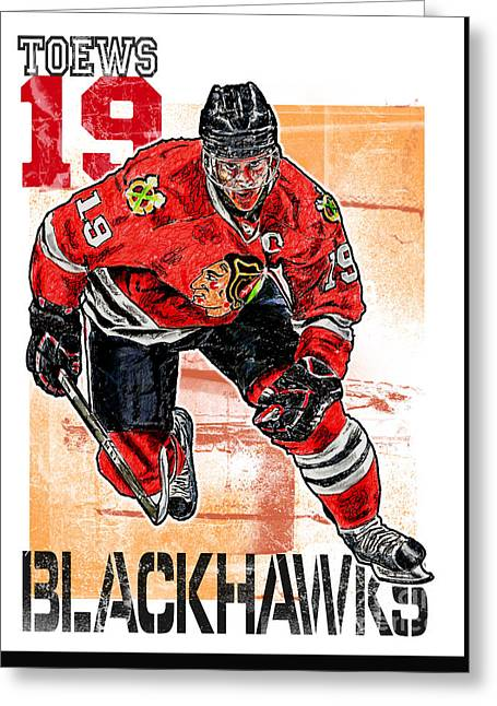 Jonathan Toews Greeting Card by Maria Arango