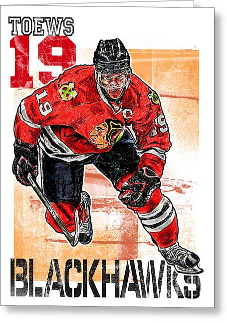 Ice-skating Greeting Cards - Jonathan Toews Greeting Card by Maria Arango