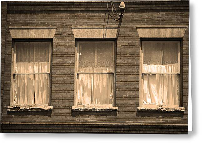 Tennessee Landmark Greeting Cards - Jonesborough Tennessee - Three Windows Greeting Card by Frank Romeo