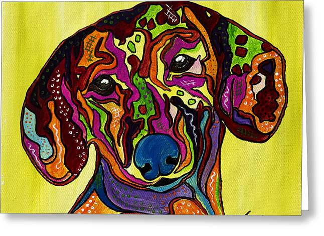 Puppies Mixed Media Greeting Cards - Joni the Dachshund  Greeting Card by Janice Rae Pariza