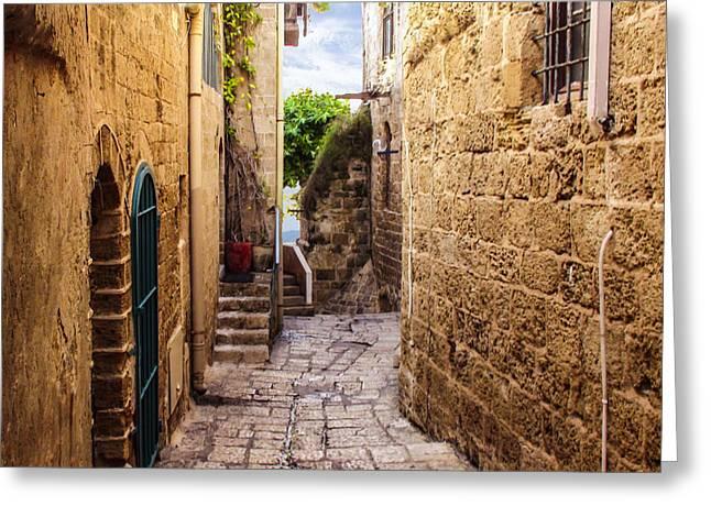 Jonah Photographs Greeting Cards - Joppa Israel passageway Greeting Card by Brian Tada