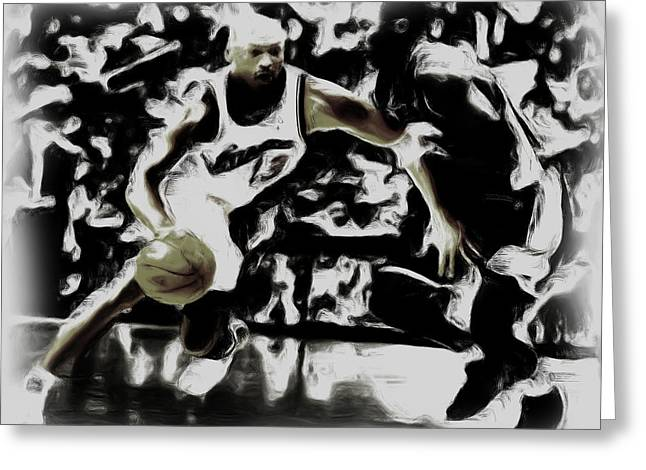 Bryant Paintings Greeting Cards - Jordan and Kobe 2b Greeting Card by Brian Reaves