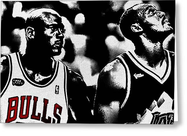 John Stockton Digital Art Greeting Cards - Jordan and Malone 2e Greeting Card by Brian Reaves