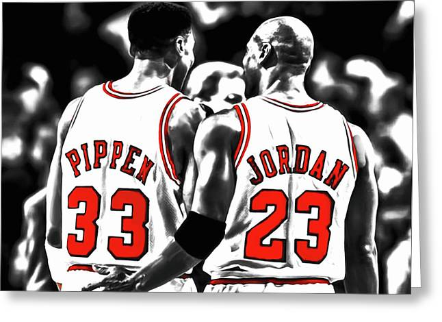 Jordan And Pippen 23c Greeting Card by Brian Reaves