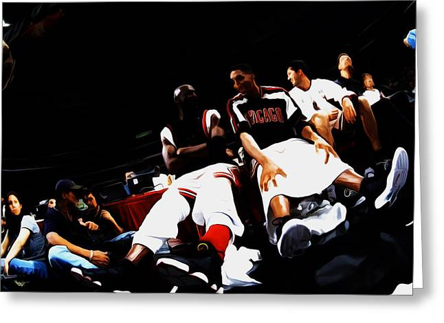 Charles Barkley Greeting Cards - Jordan and Pippen Last Stand Greeting Card by Brian Reaves
