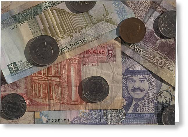 Jordan Photographs Greeting Cards - Jordan Currency Greeting Card by Richard Nowitz