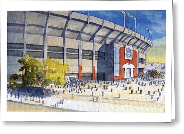 Jordan Paintings Greeting Cards - Jordan-Hare Stadium Greeting Card by Bill Whittaker