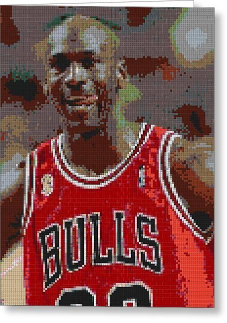 Jordan Mixed Media Greeting Cards - Jordan Lego Mosaic Greeting Card by Paul Van Scott