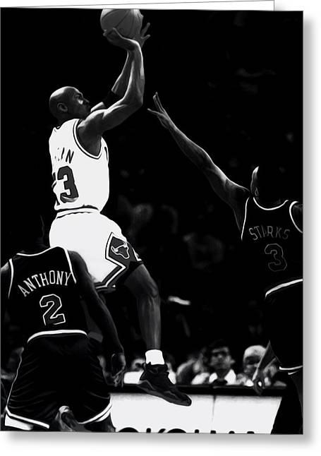 Jordan Over John Starks Greeting Card by Brian Reaves