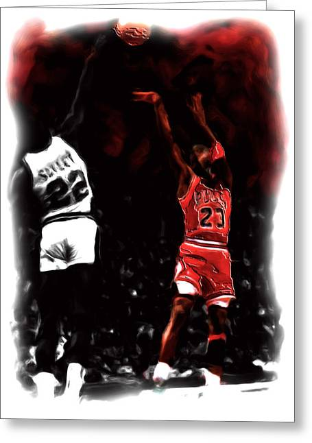 Nba Champs Greeting Cards - Jordan over Salley Greeting Card by Brian Reaves