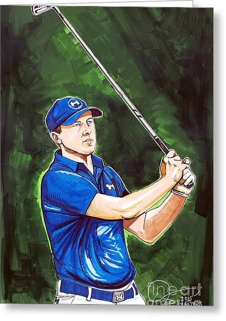 Professional Golf Greeting Cards - Jordan Spieth 2015 Masters Champion Greeting Card by Dave Olsen