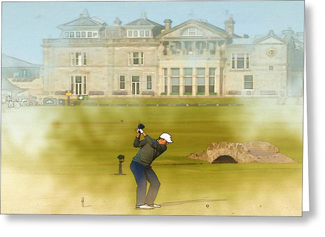 The Tiger Greeting Cards - Jordan Spieth of the United States tees off on the 18th hole Greeting Card by Don Kuing