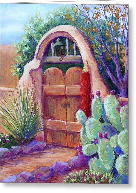 Southwest Pastels Greeting Cards - Josefinas Gate Greeting Card by Candy Mayer