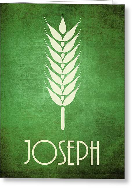 Bible Character Greeting Cards - Joseph Icon Bible Minimal Art Greeting Card by Brett Pfister