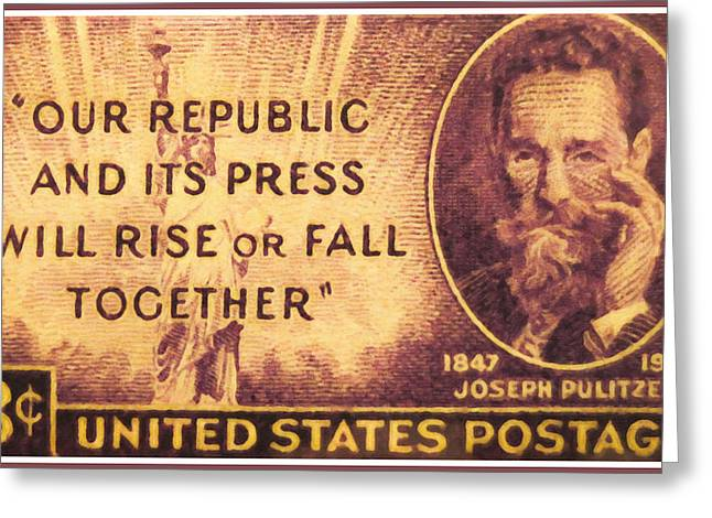 Congressman Paintings Greeting Cards - Joseph Pulitzer Greeting Card by Lanjee Chee