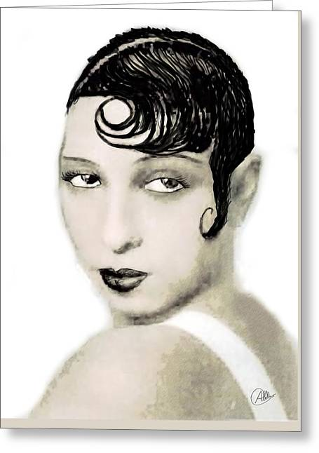 Charleston Drawings Greeting Cards - Josephine Baker draw Greeting Card by Joaquin Abella