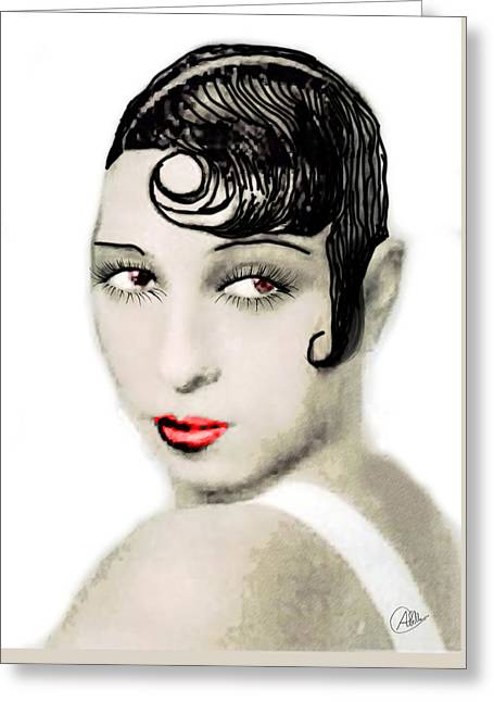 Charleston Drawings Greeting Cards - Josephine Baker drawing Greeting Card by Joaquin Abella