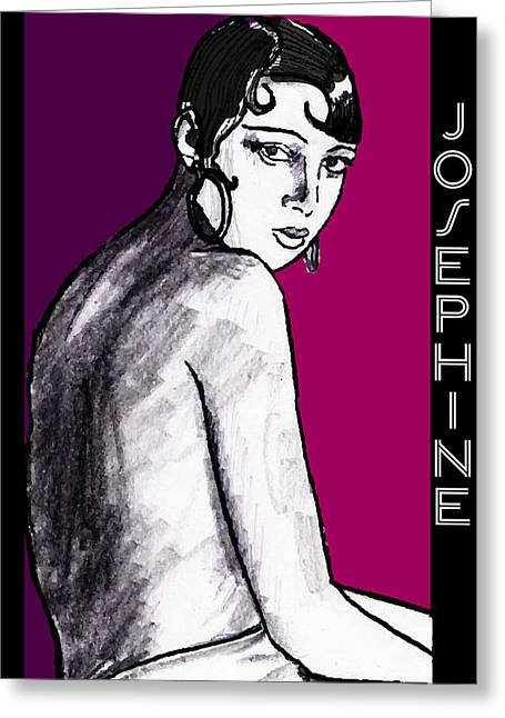 Wine Deco Drawings Greeting Cards - Josephine Baker Portrait in Plum Pink Greeting Card by Cecely Bloom