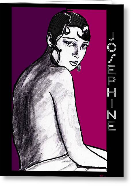 Jazz Drawing Greeting Cards - Josephine Baker Portrait in Plum  Greeting Card by Cecely Bloom