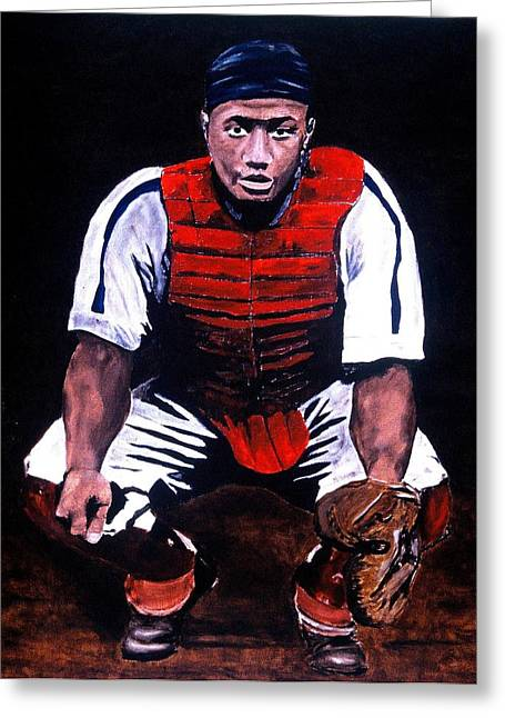 Josh Gibson Greeting Cards - Josh Gibson - Catcher Greeting Card by Ralph LeCompte