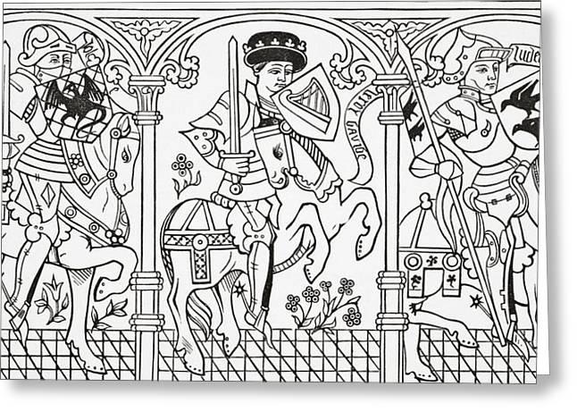Sacred Drawings Greeting Cards - Joshua, King David And Judas Greeting Card by Vintage Design Pics