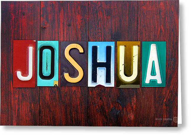 Joshua License Plate Lettering Name Sign Art Greeting Card by Design Turnpike
