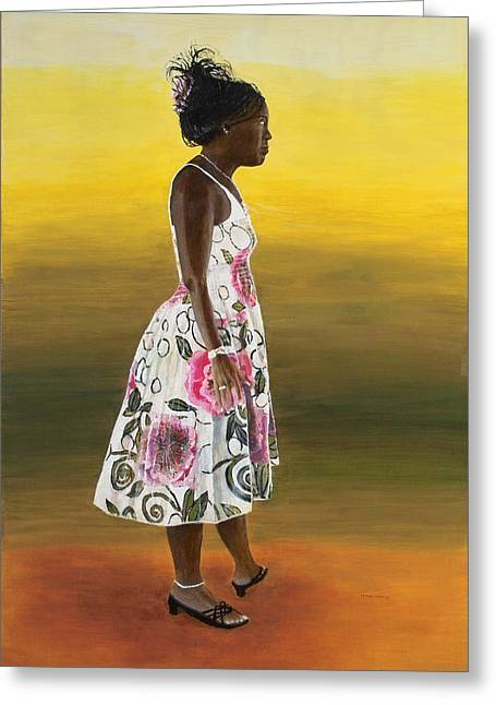 Full-length Portrait Greeting Cards - Josie Portrait Greeting Card by Peter Worsley