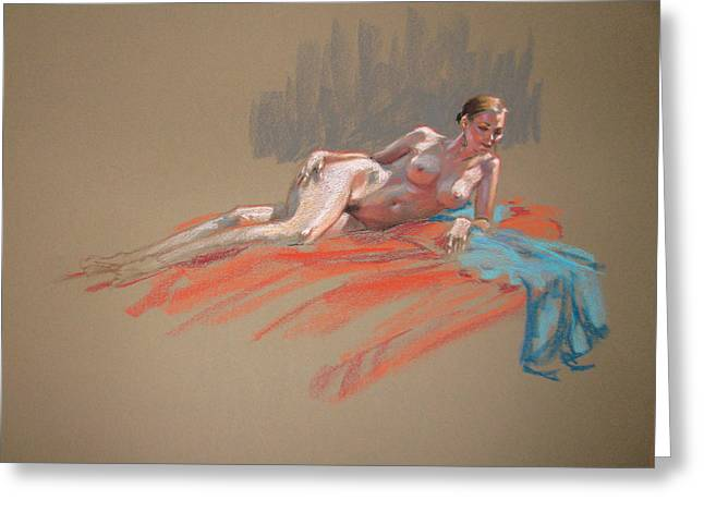 Life Drawing Pastels Greeting Cards - Josie With Turquoise Scarf Reclining Greeting Card by Christopher Reid