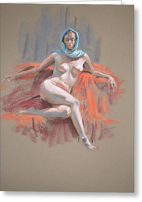 Life Drawing Pastels Greeting Cards - Josie With Turquoise Scarf Seated Greeting Card by Christopher Reid