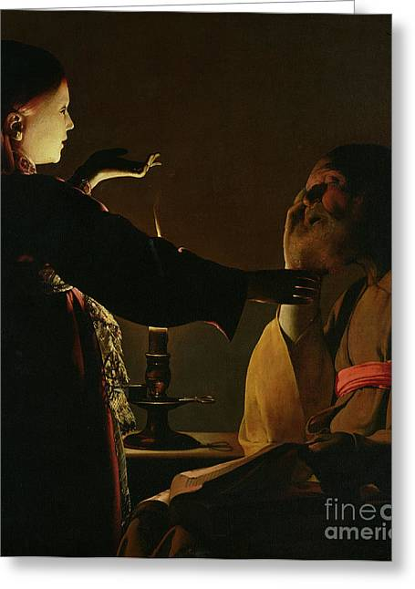 Candlelight Greeting Cards - Jospeh and The Angel Greeting Card by Georges de la Tour