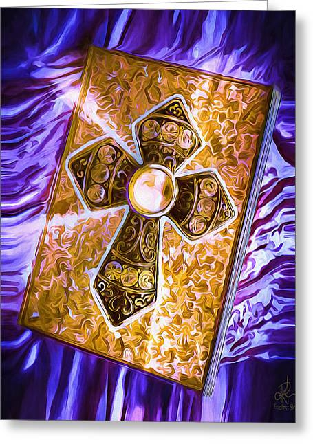 Destinies Cross Greeting Cards - Journal of Destiny Greeting Card by Pennie  McCracken