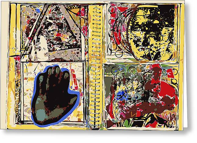 Sketchbook Greeting Cards - Journal Pages Head Hand Greeting Card by F Burton