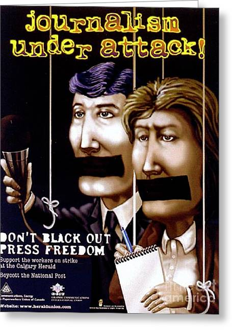 Censorship Digital Art Greeting Cards - Journalism under attack Greeting Card by Armand Roy