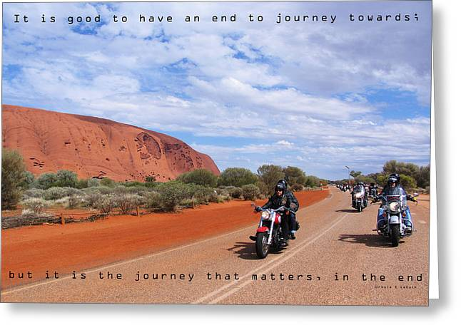 Ayers Rock Greeting Cards - Journey Greeting Card by Linda Lees