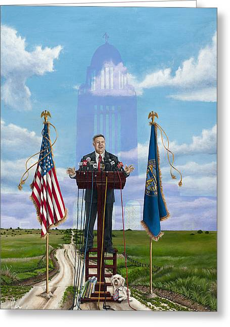 Wahoo Greeting Cards - Journey of a Governor Dave Heineman Greeting Card by Cindy D Chinn