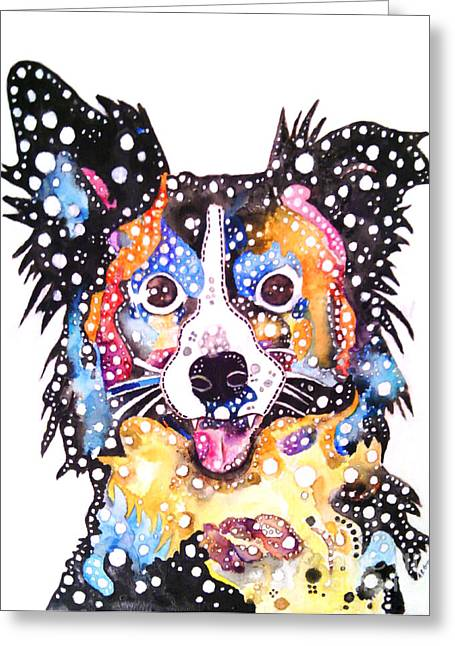 Collie Mixed Media Greeting Cards - Joy Greeting Card by Angela Green
