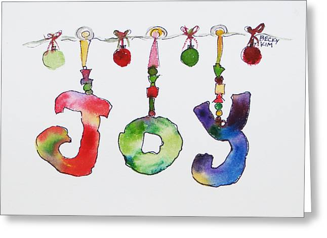 Joy Greeting Card by Becky Kim