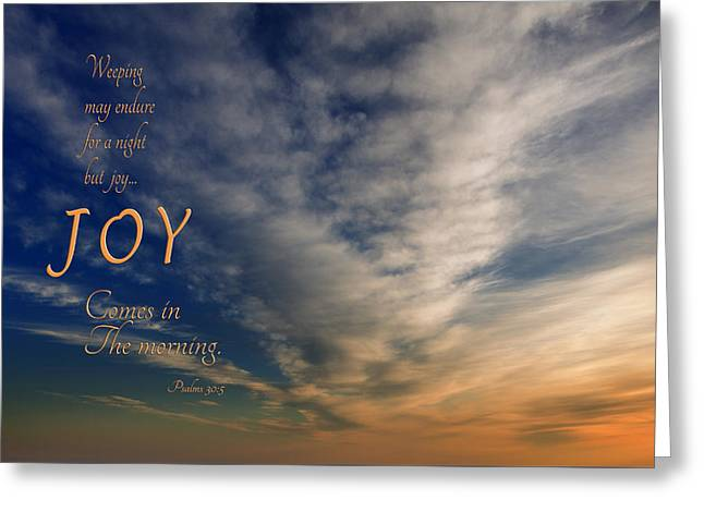 Joy Comes In The Morning Greeting Card by Mary Jo Allen