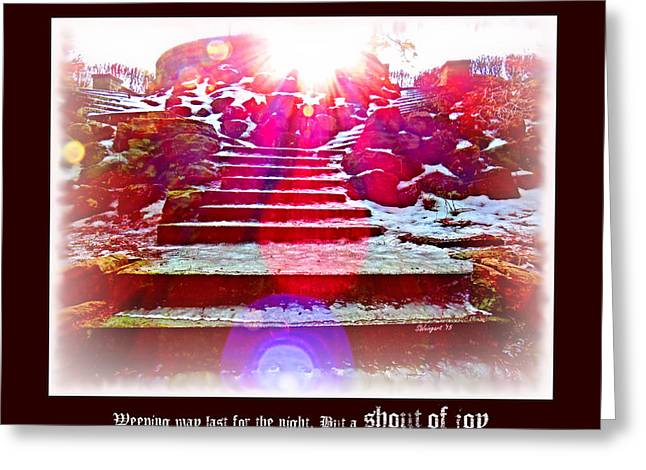 Stepping Stones Greeting Cards - Joy Comes in the Morning Poster Greeting Card by Shelly Weingart