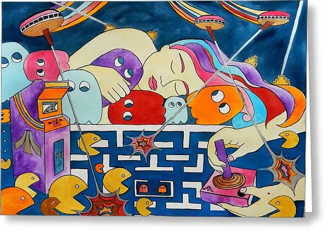 Pac-man Greeting Cards - Joy Stick Dreams Greeting Card by Jennifer Bardsley