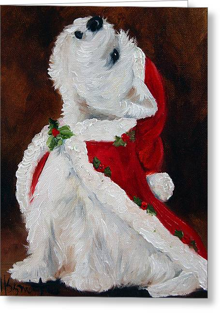 Puppies Print Greeting Cards - Joy to the World Greeting Card by Mary Sparrow