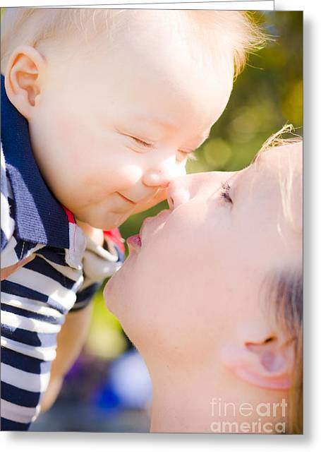 Rubbing Greeting Cards - Joyful baby rubbing noses with Mom Greeting Card by Ryan Jorgensen